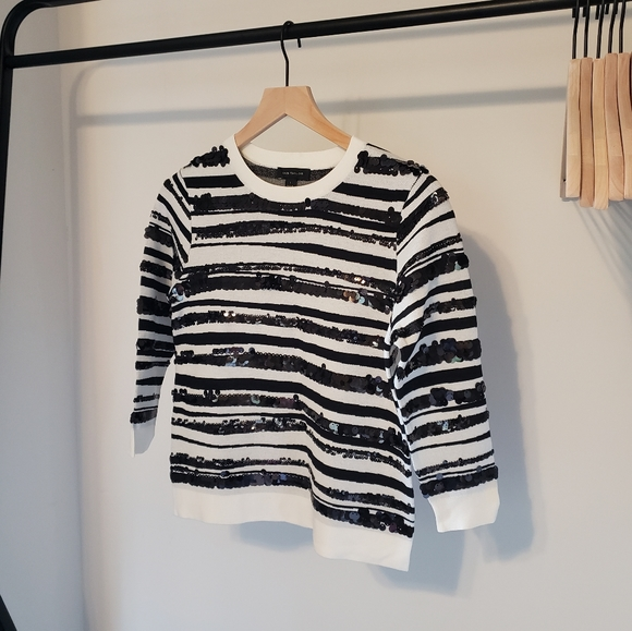 Ann Taylor Stripe Black and White Sequin Sweater